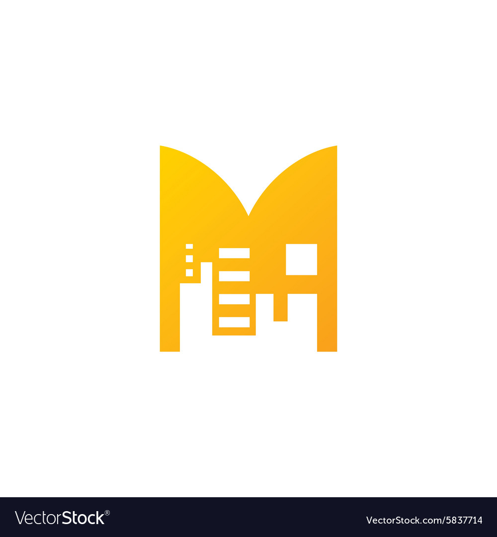 Real Estate sign Sign of the letter M vector image