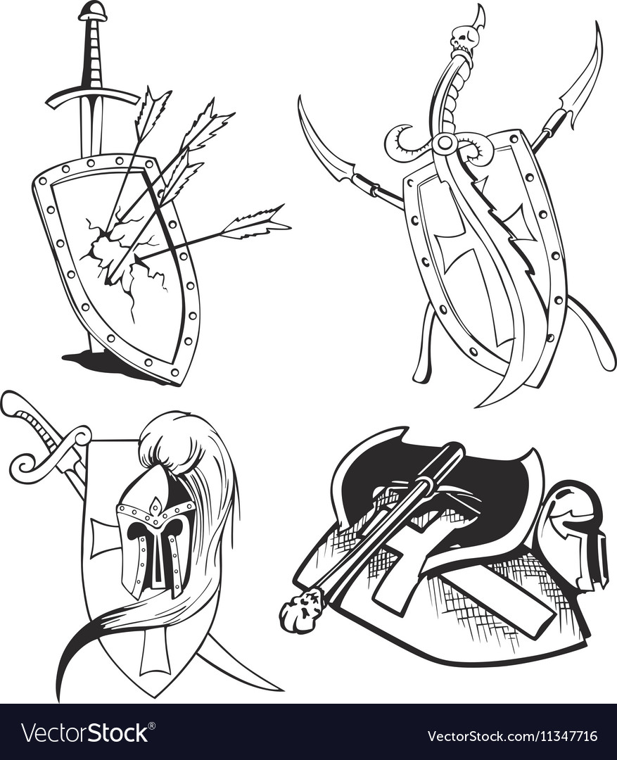 Blades and shields vector image