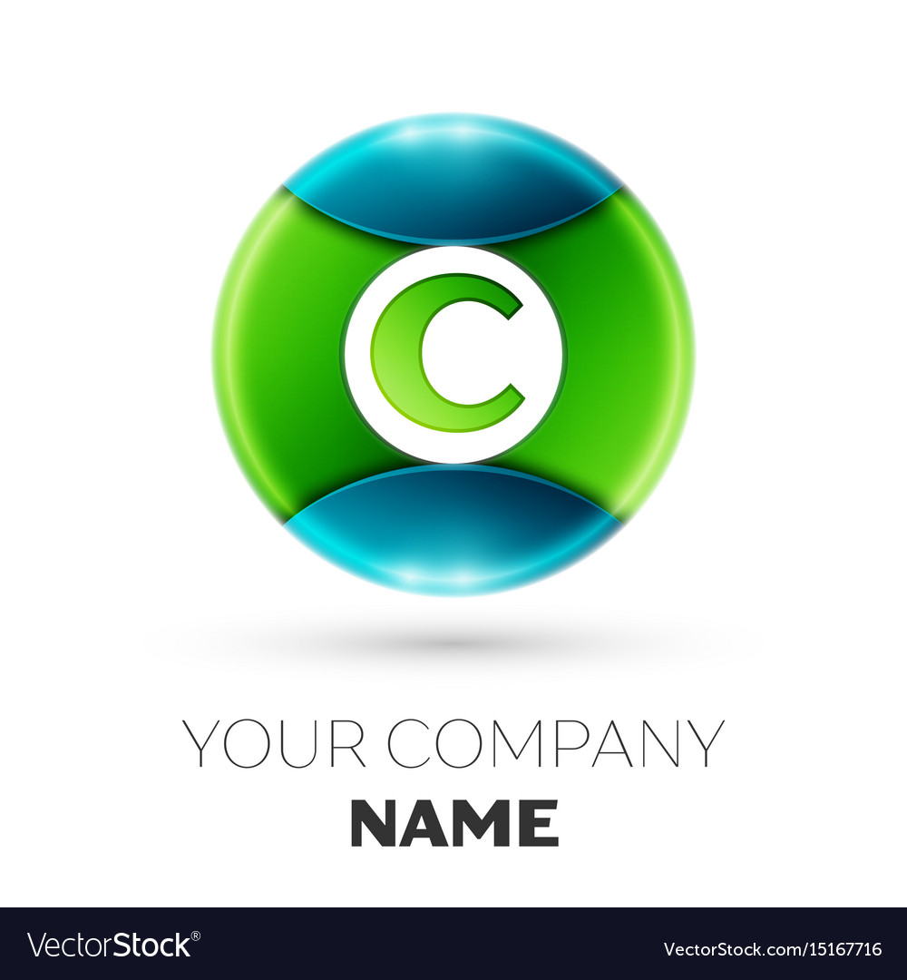 Realistic letter c logo symbol in colorful circle vector image
