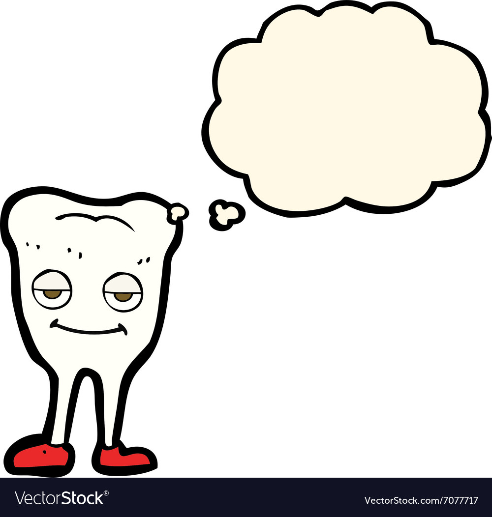 cartoon happy tooth with thought bubble royalty free vector rh vectorstock com thought bubble vector download cartoon thought bubble vector