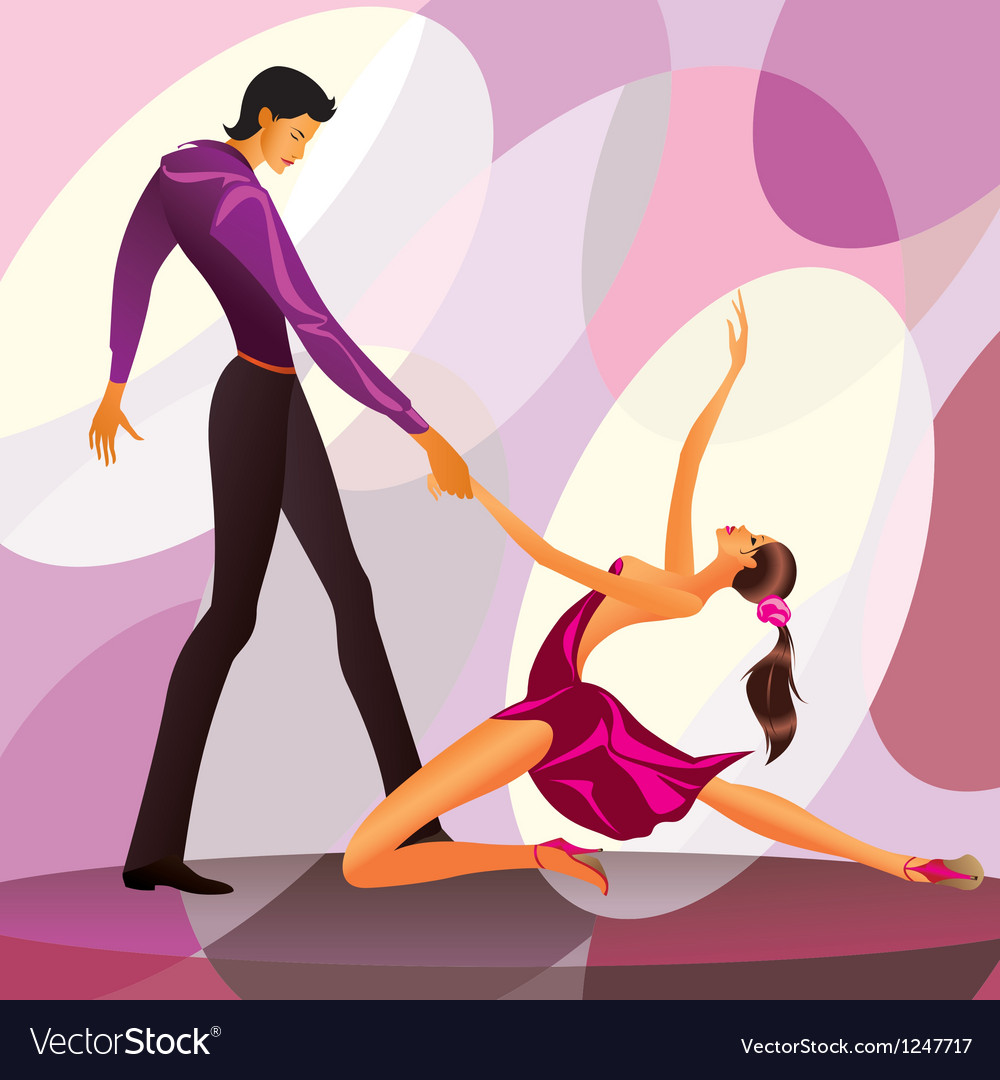 Couple dancers in romantic scene vector image