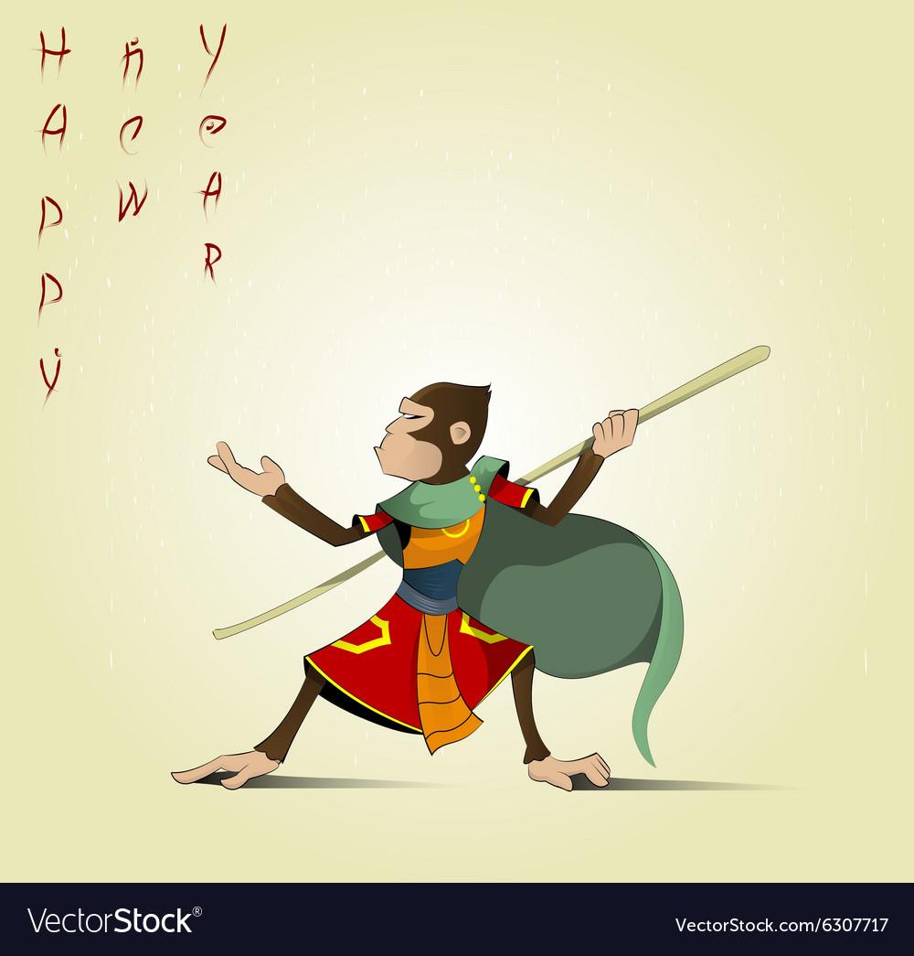 Fun cartoon Hanuman vector image
