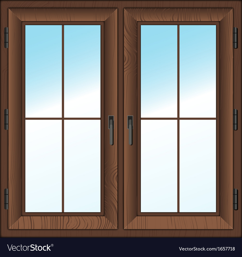 Wooden closed double window vector image
