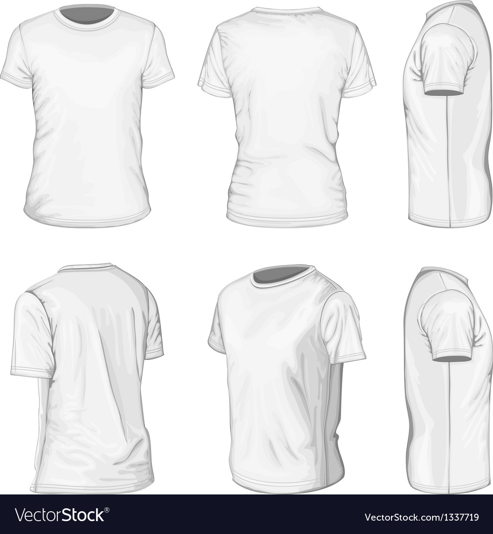 mens white short sleeve t shirt design templates royalty