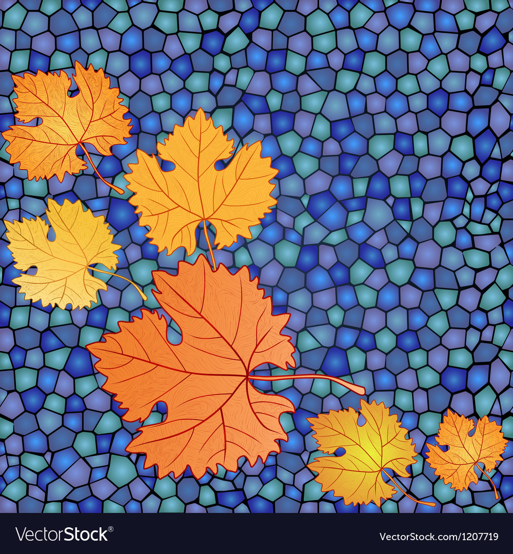 Autumn card with mosaic blue backdrop and red vector image
