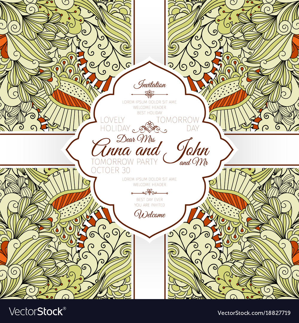 card with beige floral doodle pattern royalty free vector