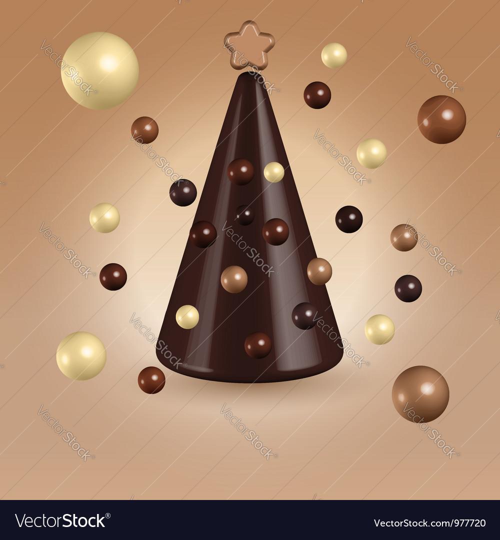 Chocolate christmas tree decorations vector image