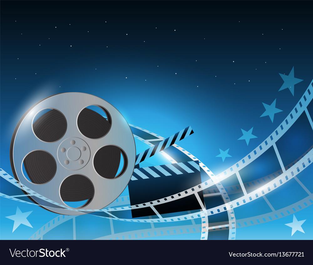 A film stripe reel on shiny blue vector image