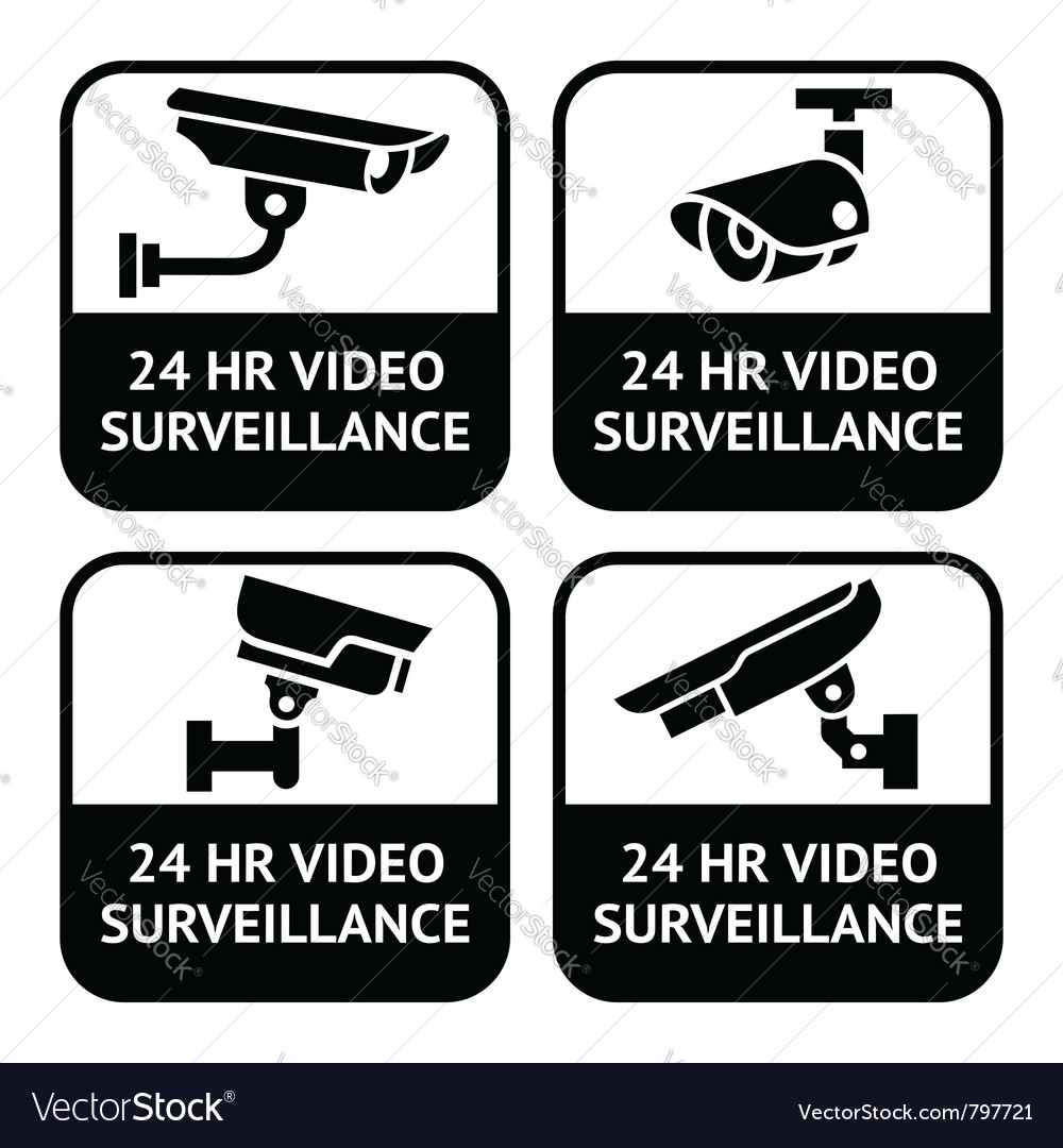 Cctv labels set symbol security camera pictogram vector image