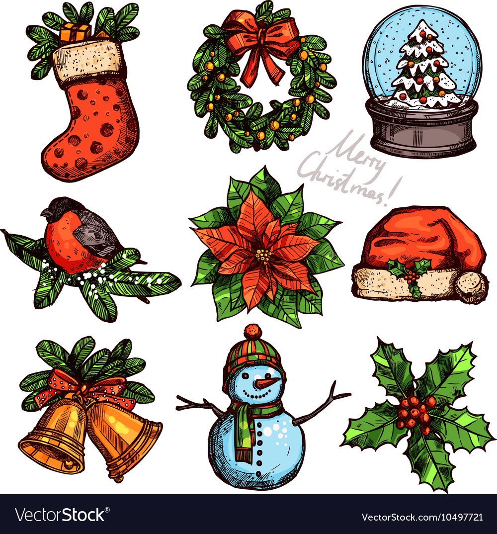 Christmas Color Sketch Collection Of Attributes vector image