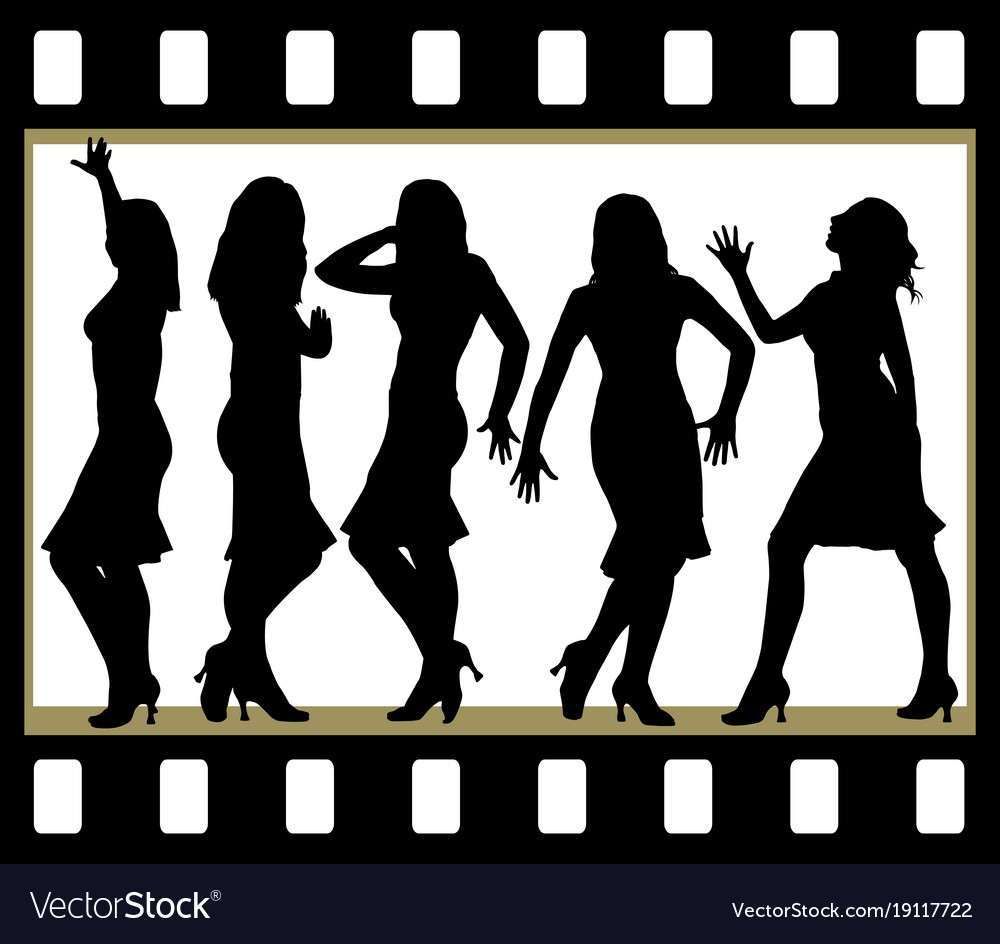 Attractive beautiful girls posing in film frame vector image