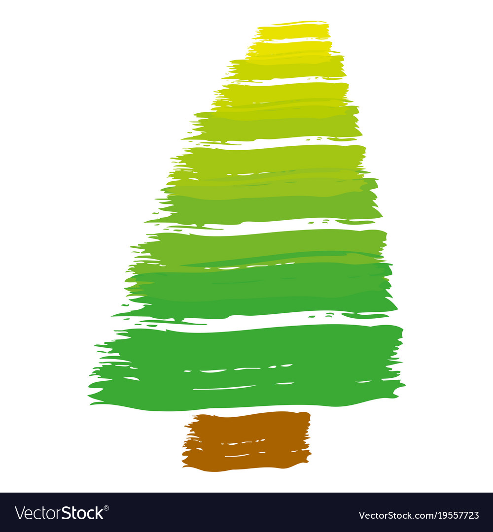Brush stroke color pine tree art image Royalty Free Vector