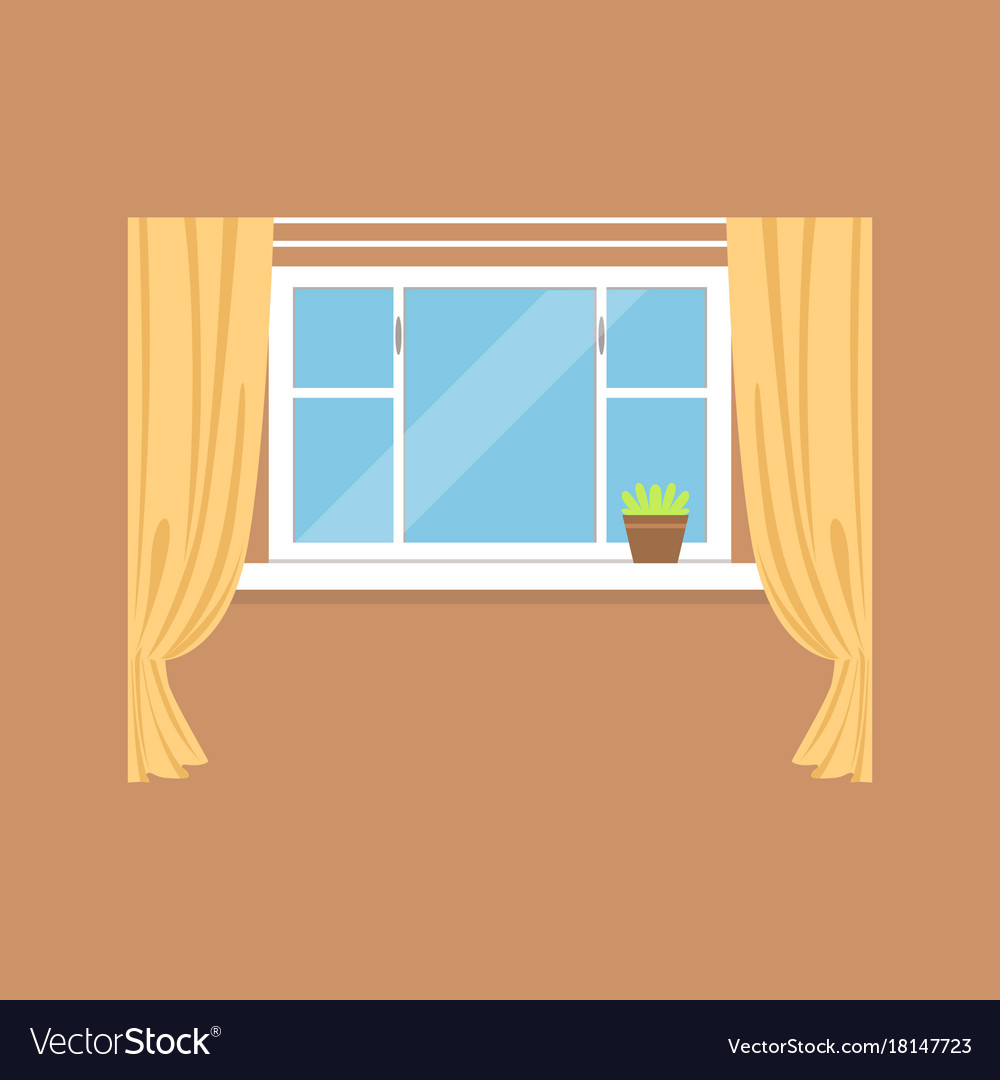 Flat window with curtains on brown wall Royalty Free Vector for Window With Curtains Illustration  117dqh