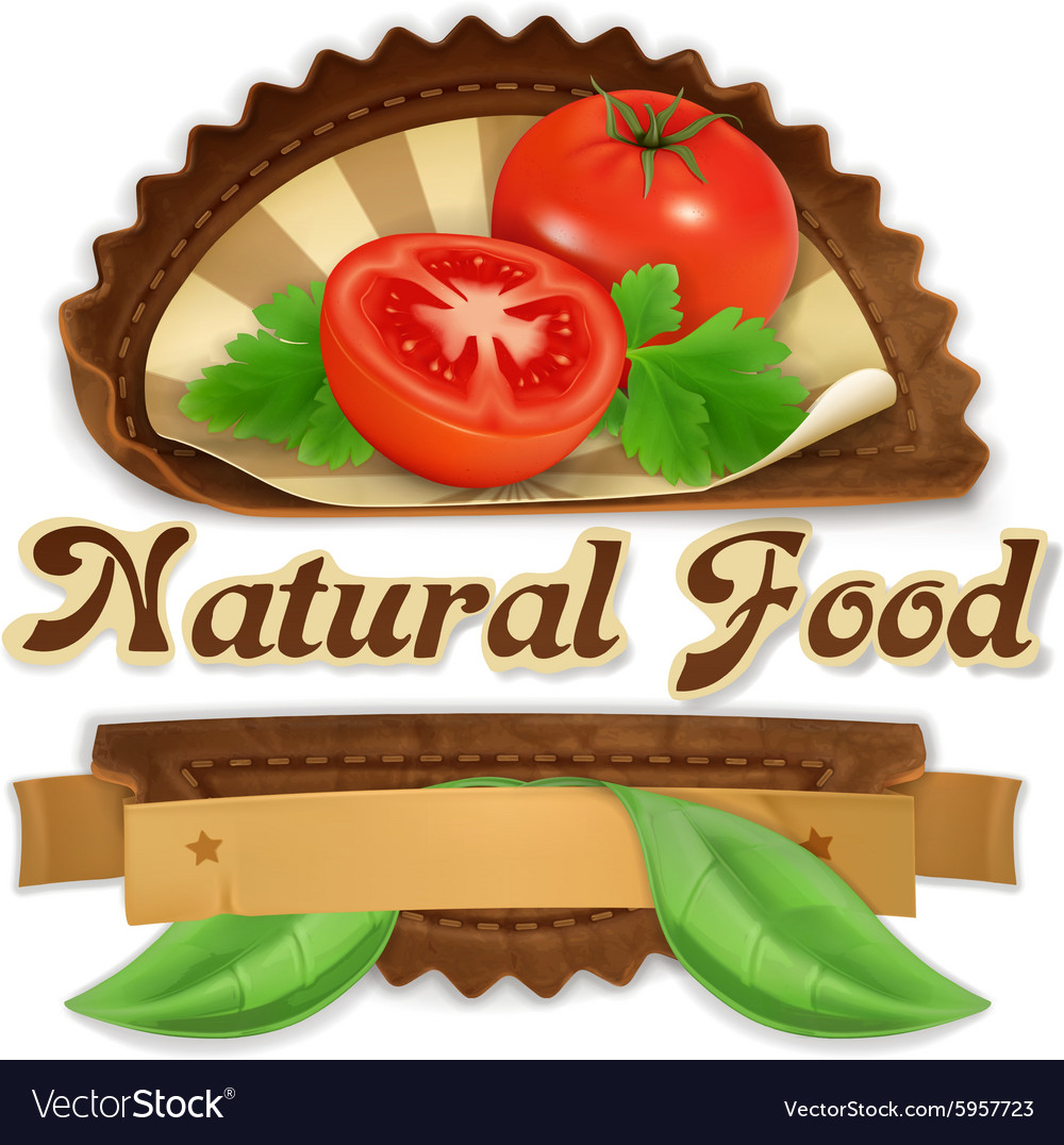Juicy tomatoes label design vector image
