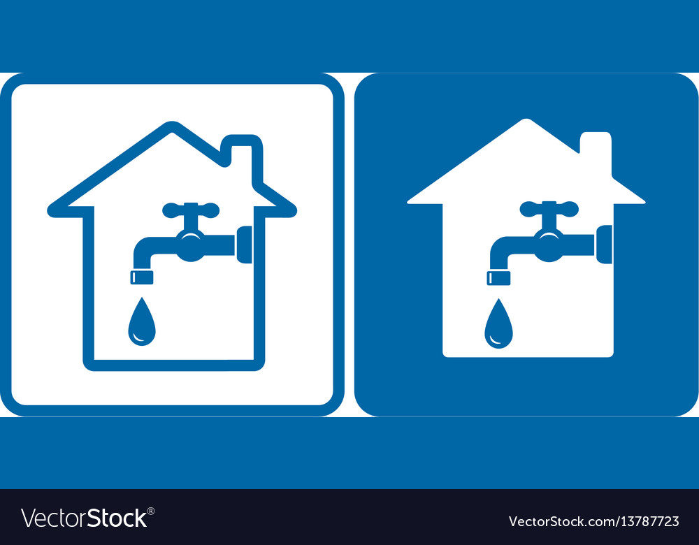 Set with house and tap vector image