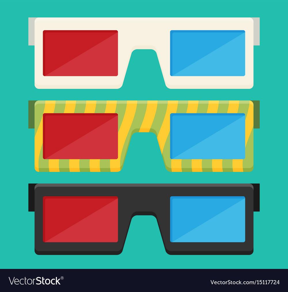 Flat 3d Glasses : D glasses of flat royalty free vector image vectorstock