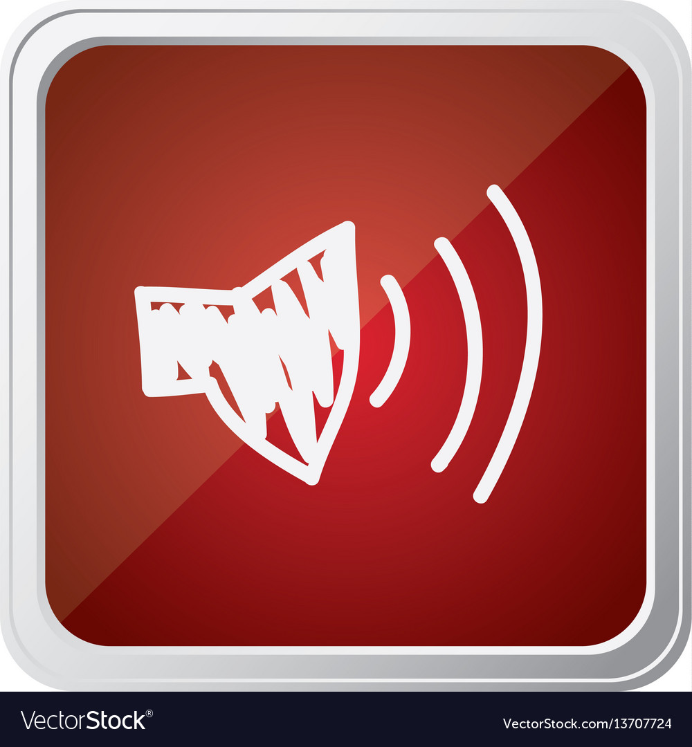 Button of audio speaker volume with background red vector image