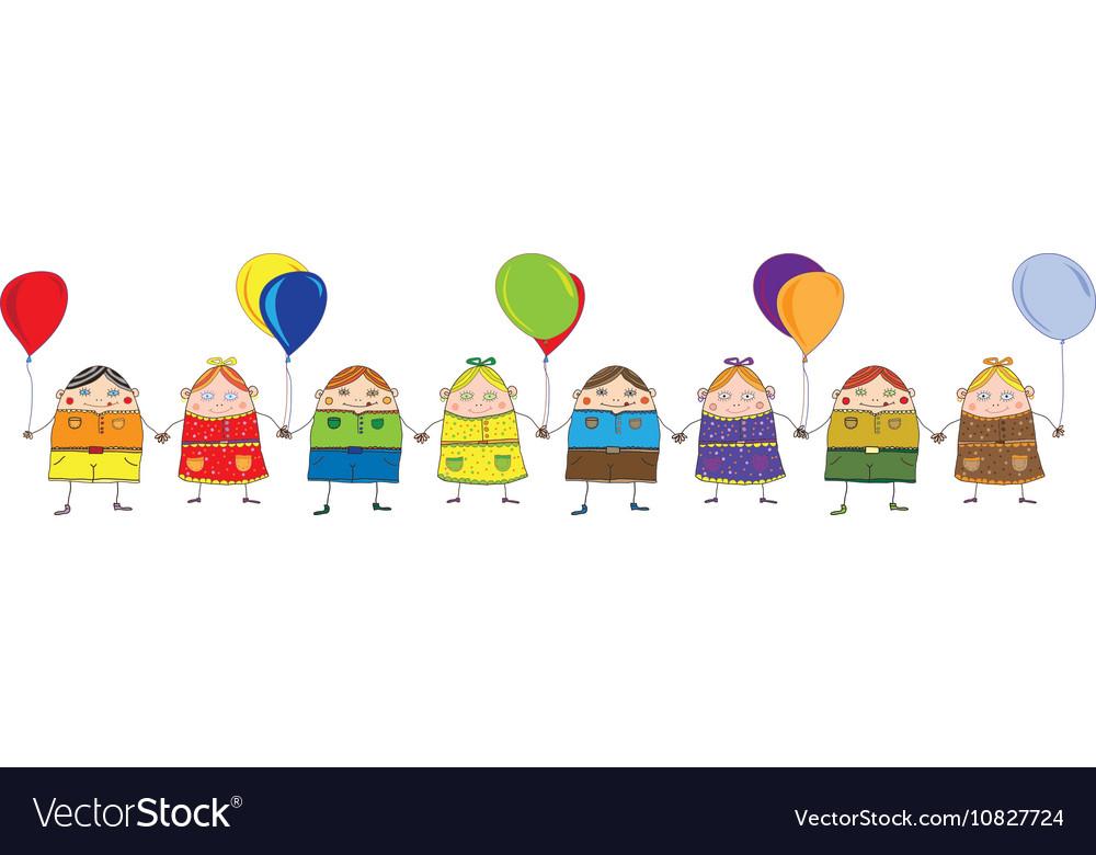 Children with balls vector image