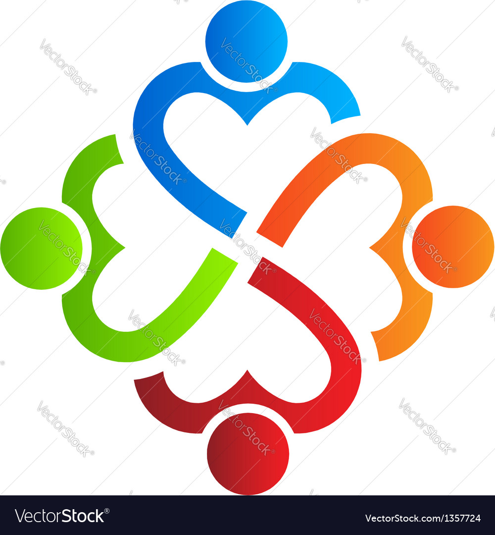 Team heart 4 Logo Design element vector image