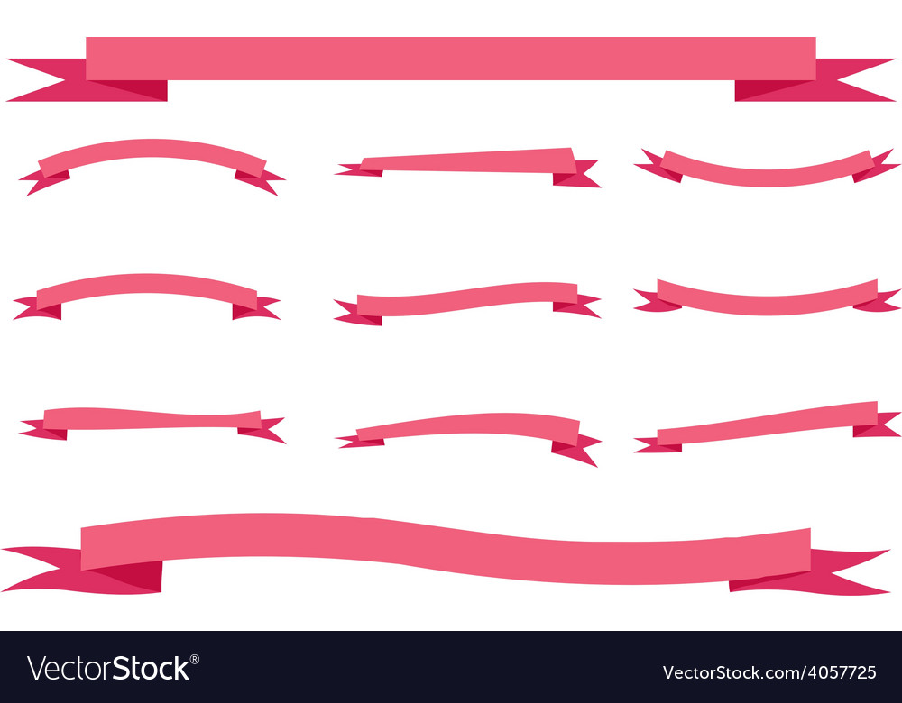 Set eleven ribbons banners romantic pink love red vector image