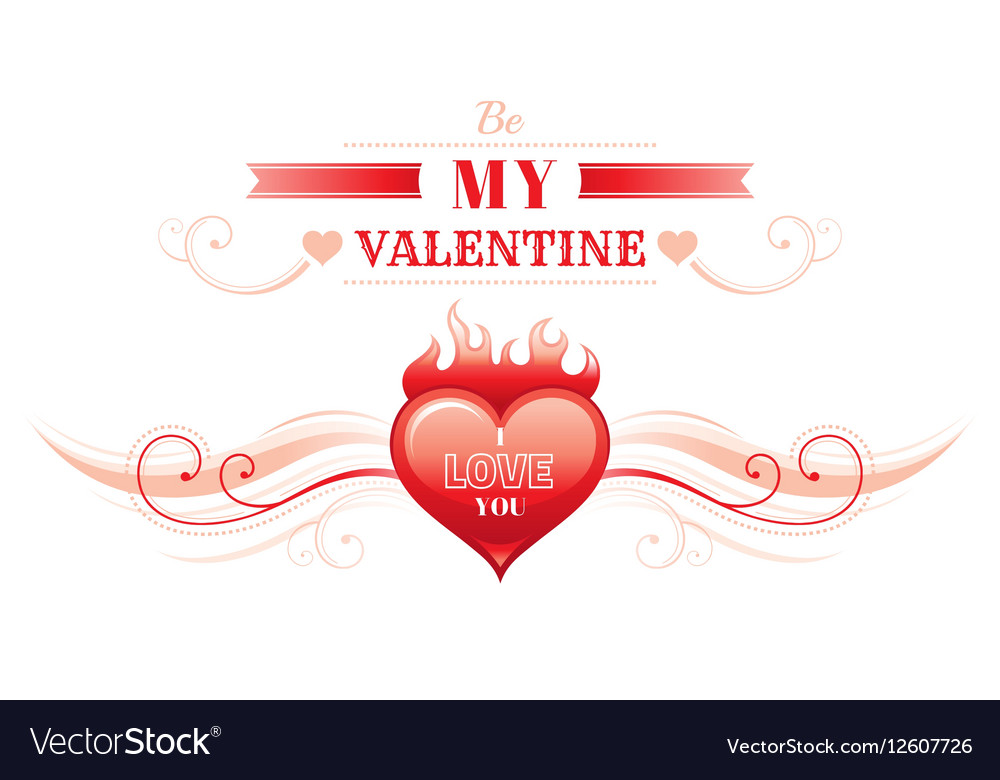 Happy Valentines day border heart fire Romance vector image