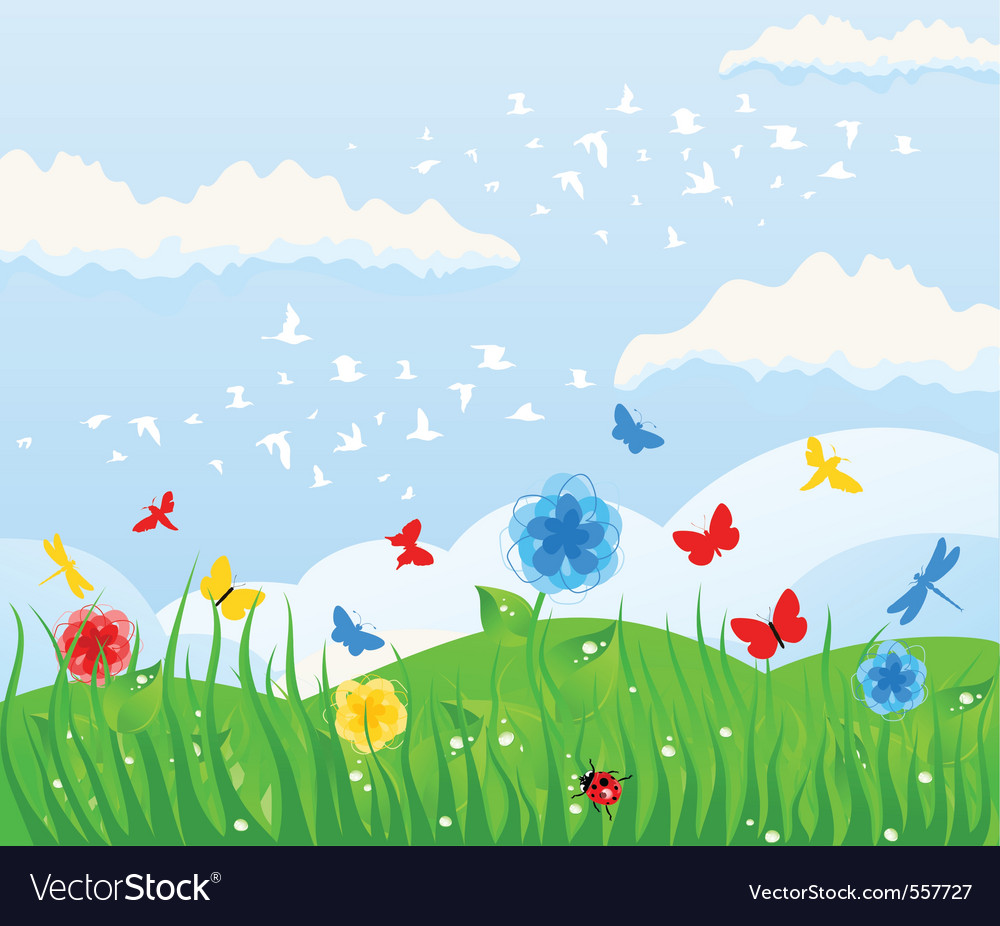 Spring solar background vector image