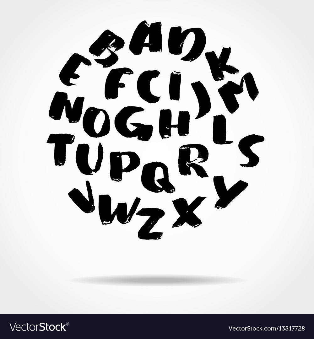 Hand drawn font made by brush strokes modern vector image