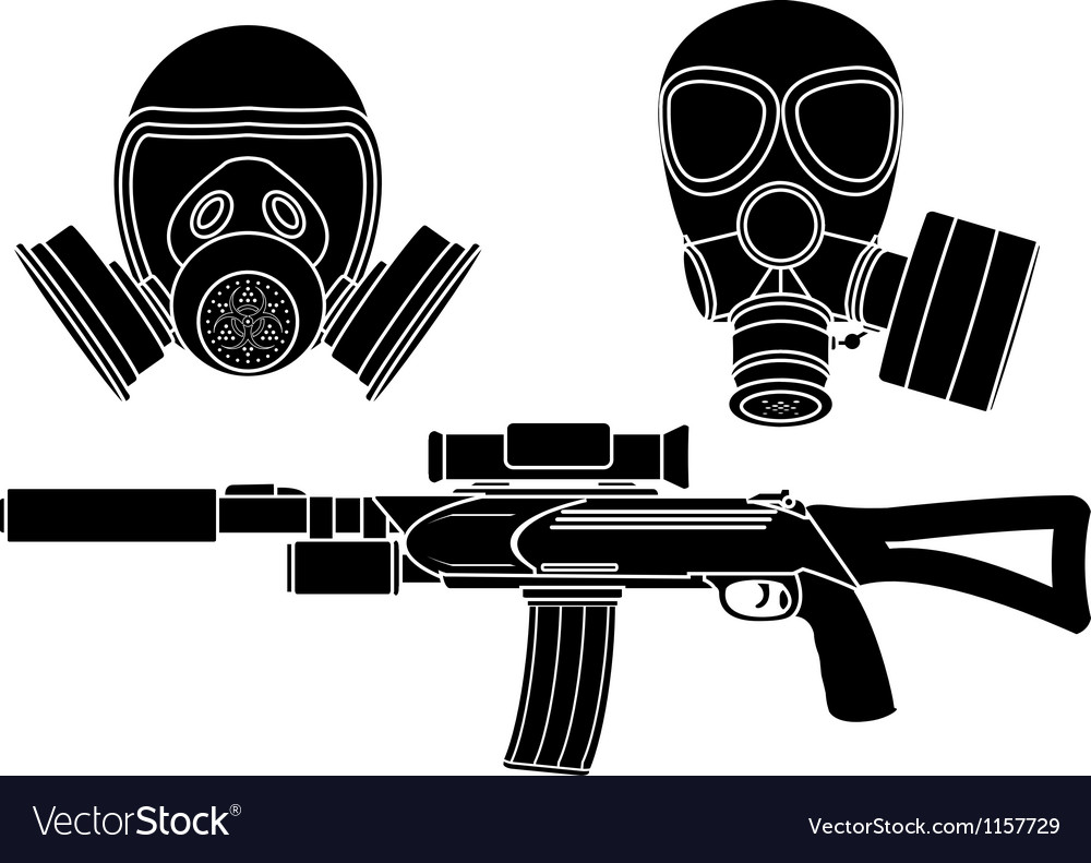 Sniper rifle and gas masks stencil vector image
