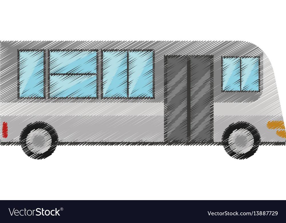 Drawing bus transport urban public vector image