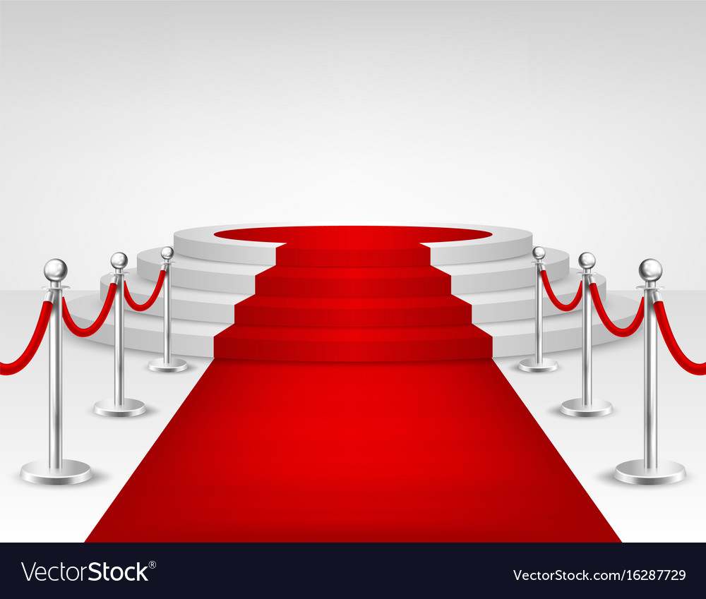 Realistic red event carpet silver barriers vector image