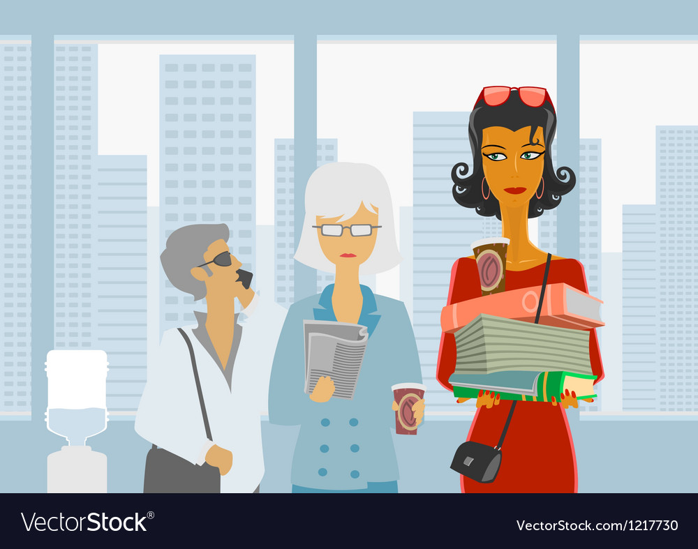 People are waiting for the elevator vector image