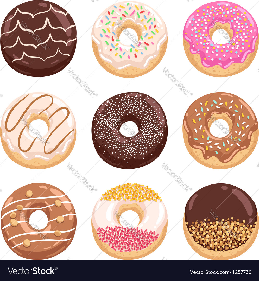 Donuts collection part 2 vector image