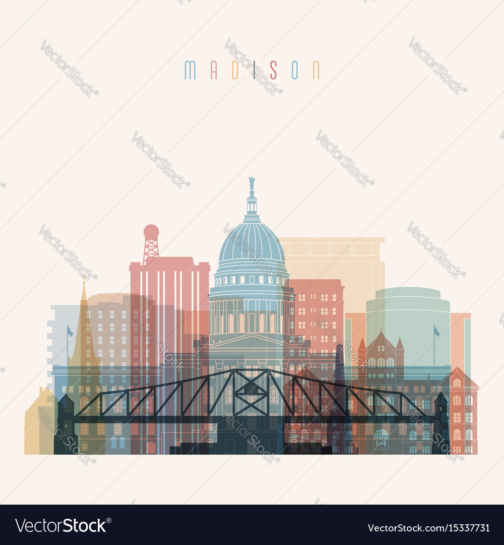 Madison state wisconsin skyline silhouette vector image