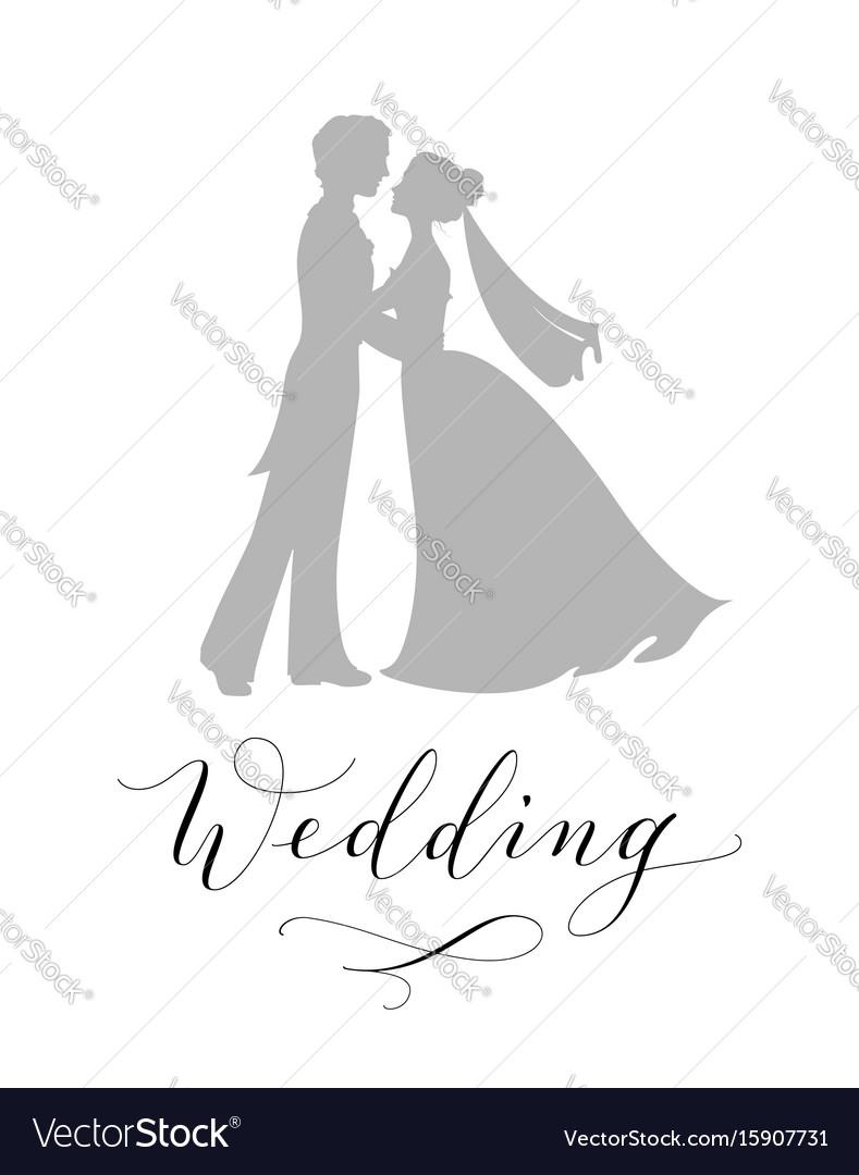 Wedding design concept bride and groom vector image