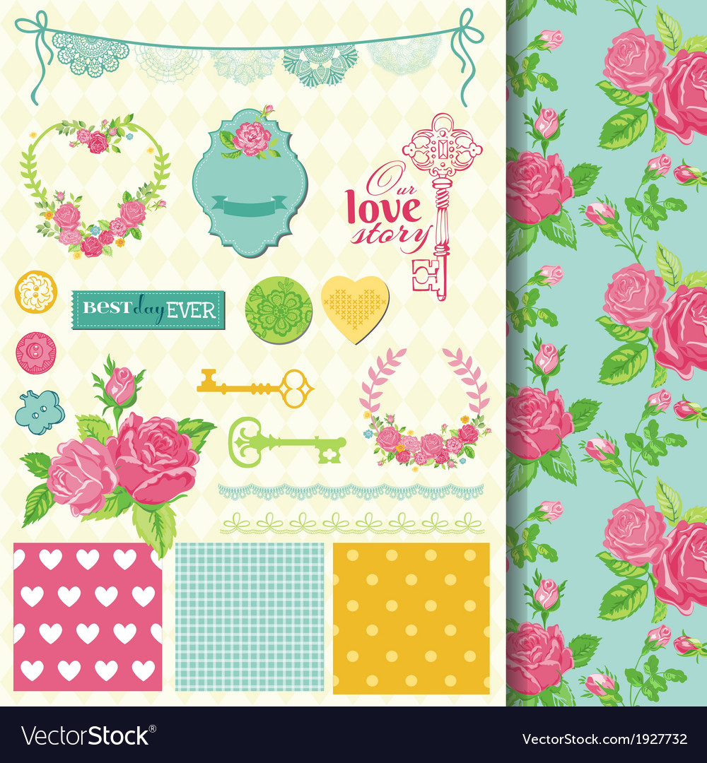 Design Elements Floral Shabby Chic Theme Vector Image