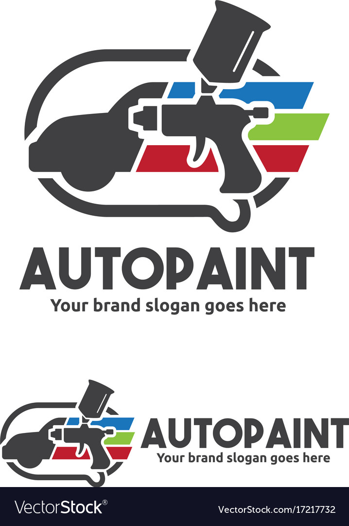 car paint with spray gun logo template royalty free vector