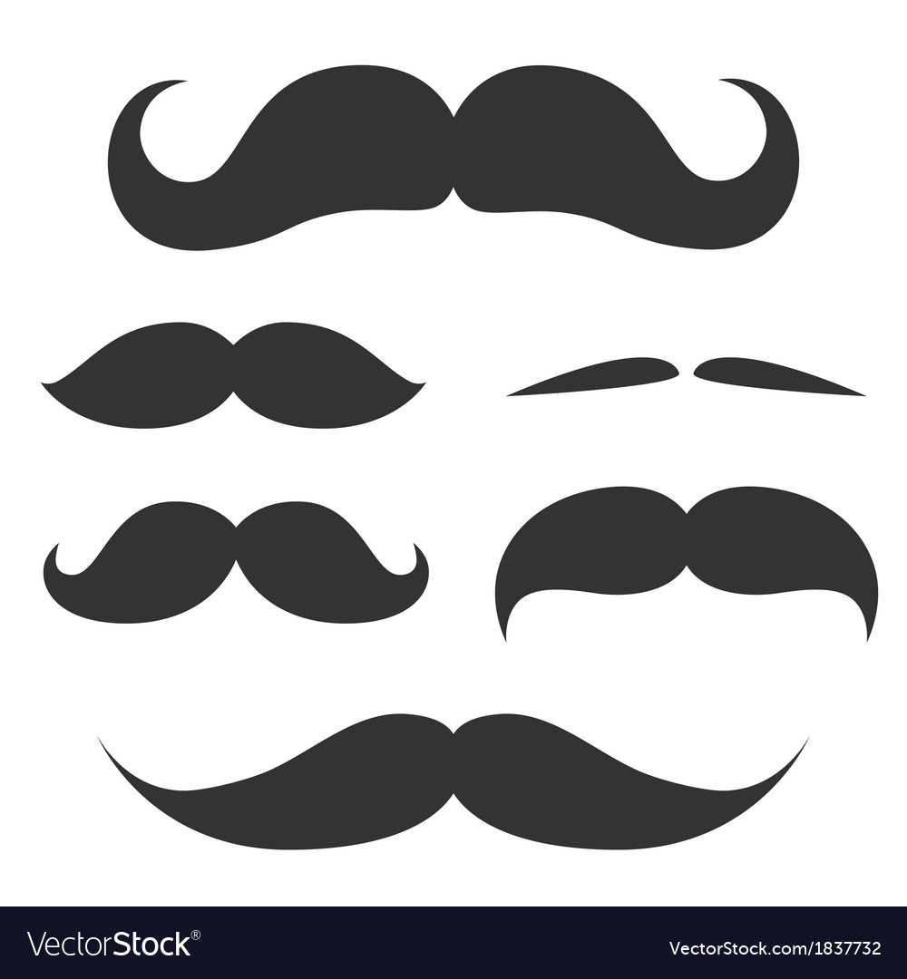 Set of cute mustache vector image