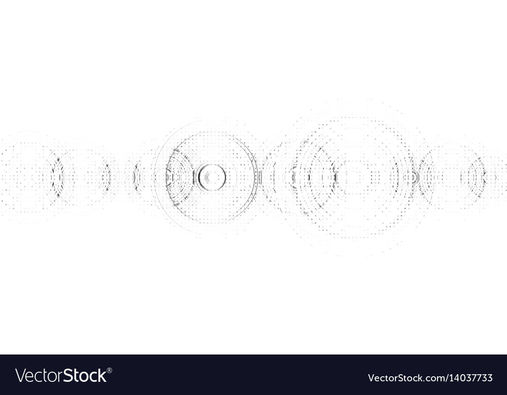 Abstract technological sound wave black and white vector image