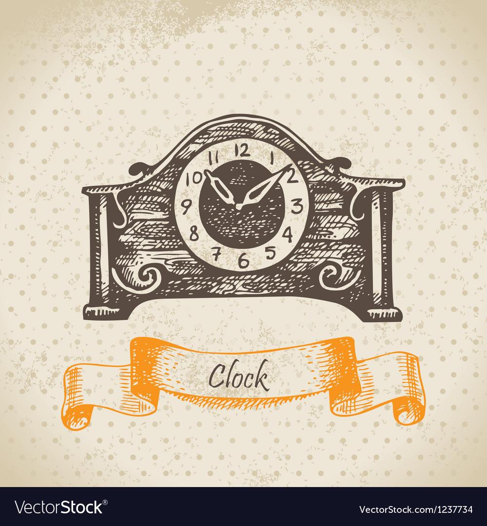 Vintage clock hand drawn vector image