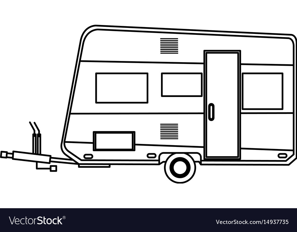 Camper trailer vacation travel outline image vector image