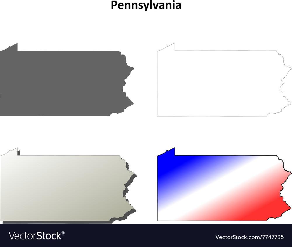 Pennsylvania outline map set vector image