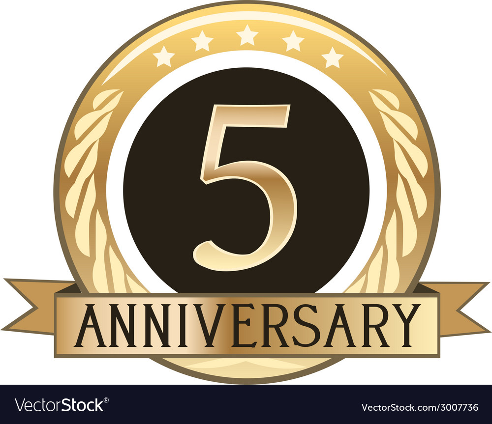 Five Year Anniversary Badge vector image