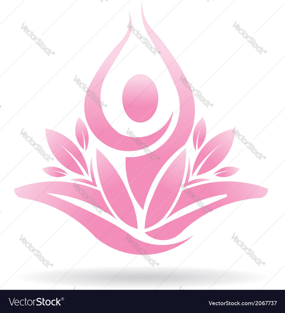 Lotus yoga person spiritual logo vector image