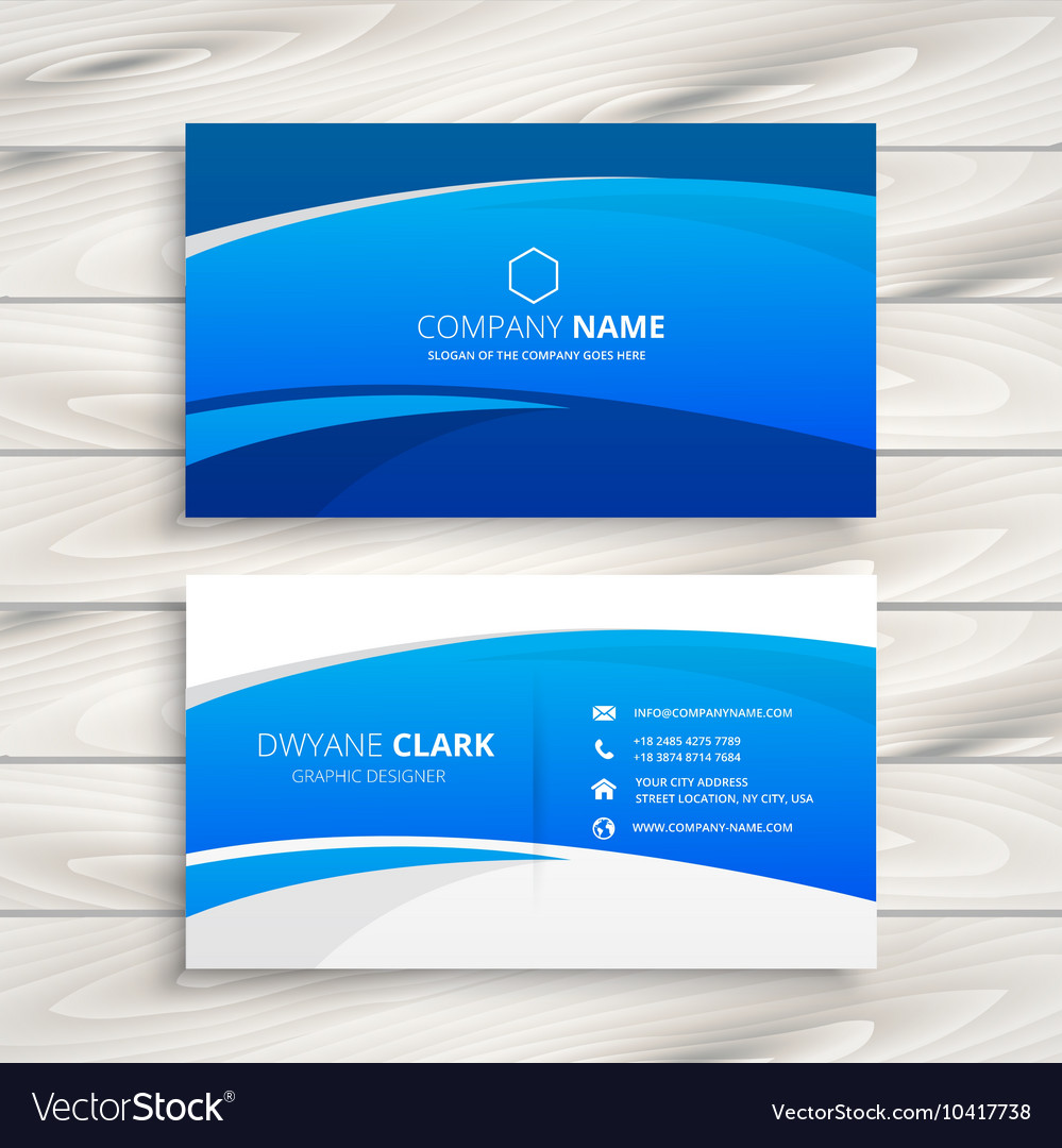 Blue wave business card Royalty Free Vector Image