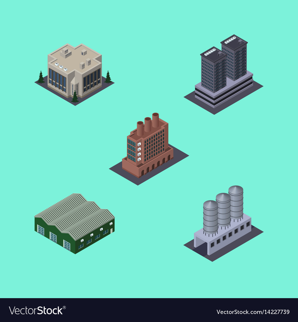 Isometric architecture set of industry company vector image