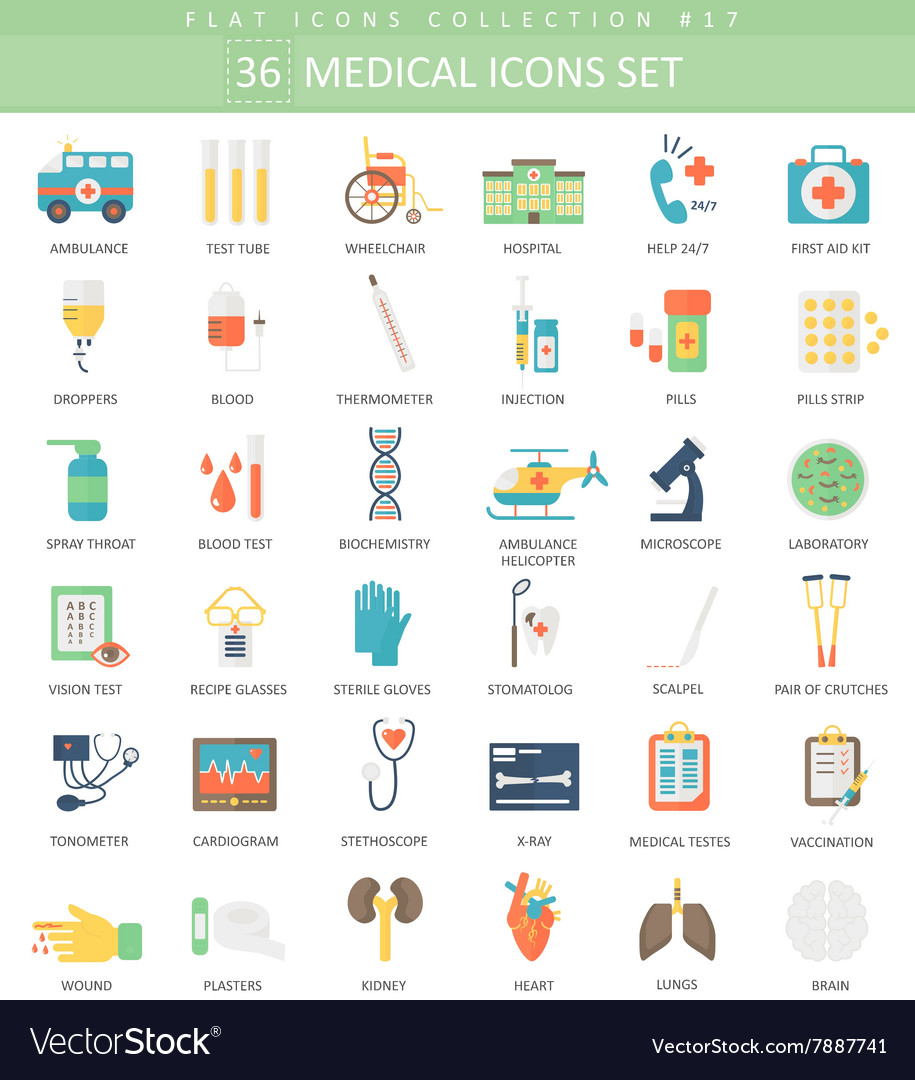 Medical color flat icon set Elegant style vector image