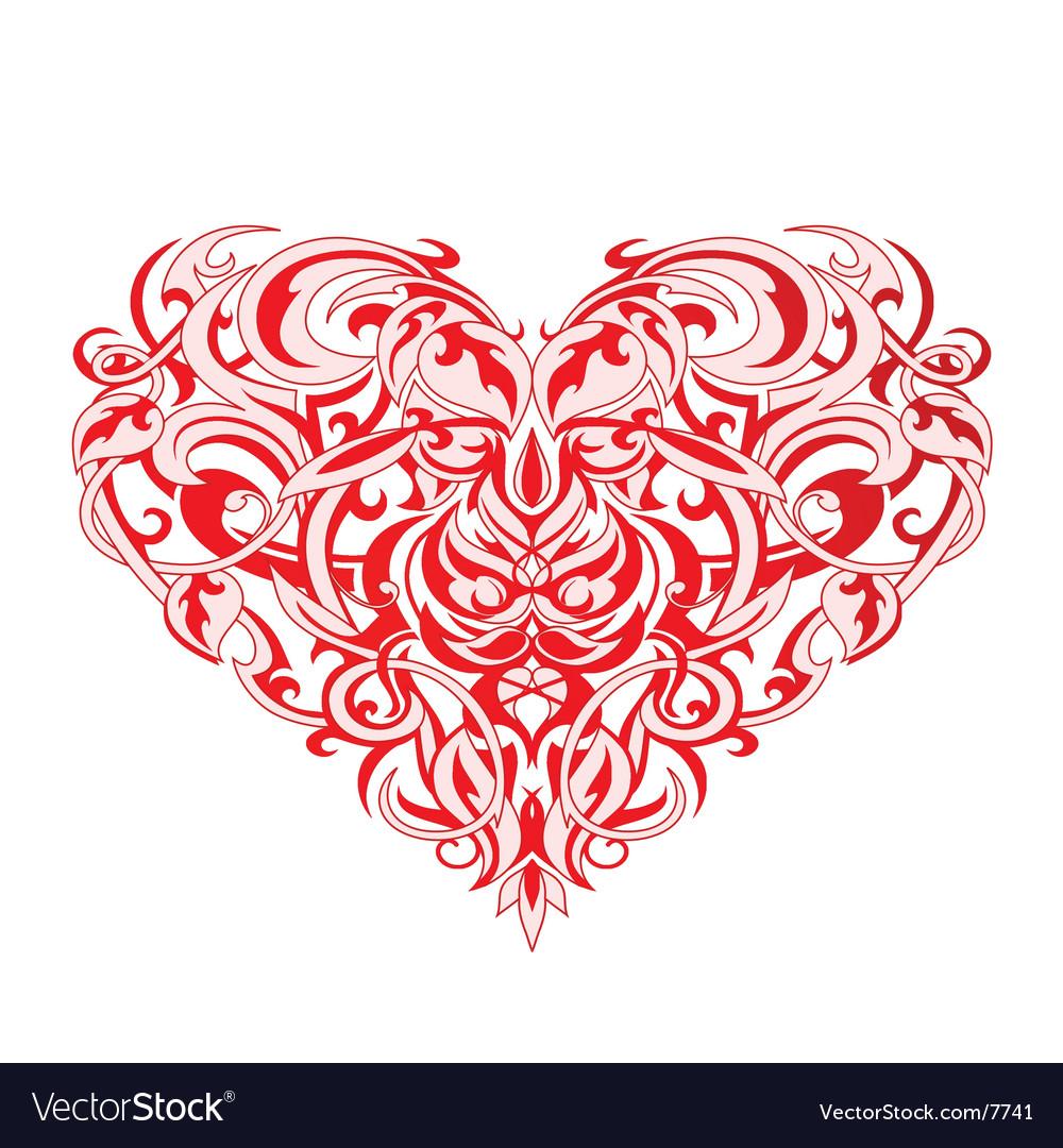 Tribal art heart vector image