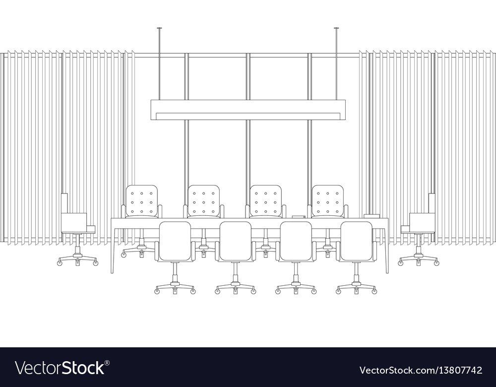Meeting room line interior vector image