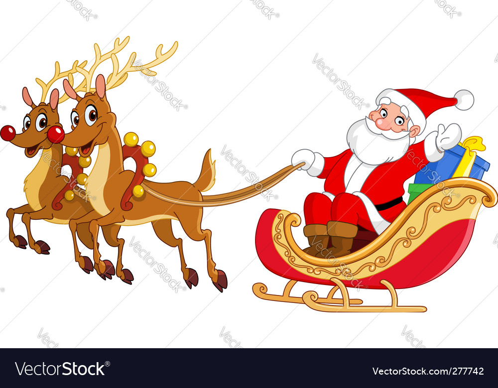 Santa with Sleigh Silhouette Transparent PNG Clip Art Image ...