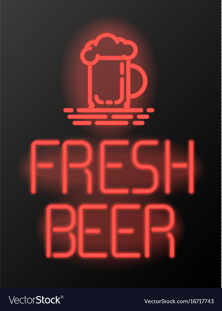 Fresh beer neon sign or emblem vector image